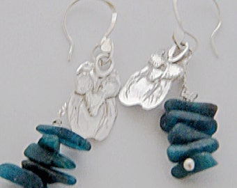 25% OFF - 925 Sterling Silver Owl  Drop Earrings With Apatite Stacks