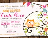 Baby Girl Owl Shower Invitation