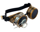 Steampunk Goggles Airship Captain Apocalyptic Mad Scientist Victorian Limited CG D