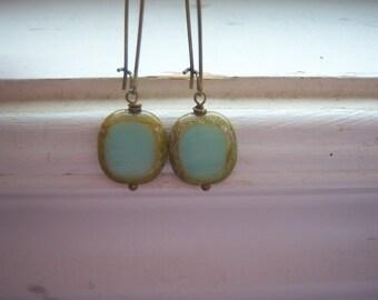 Pistachio Earrings -Blue Green Earrings - Beach Earrings - Czech Table Cut Polished -Coral Baby Blue Picasso