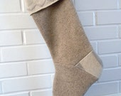 Beige and Cream Felted Wool Stocking // Wool Sweater Christmas Stocking // Handmade Woodland Stocking