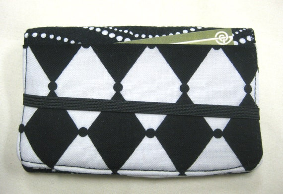 Business Card Holder Mini Wallet- Bifold Inside Outside Wallet in Black and White Geometric Unisex Fabric