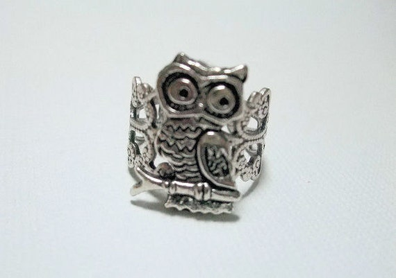 Silver Owl Ring - Adjustable, Bird Jewelry, Owl Jewelry, Gift for, Birthday, Christmas