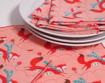 Cloth Dinner Napkins - Run Little Red Fox - Reusable - Set of four - 10 inch Flannel