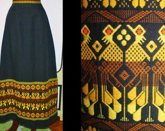 60's Embroidered Peacock Maxi Skirt in Black. AHH-Mazing Bohemian Winter Wear. Small.
