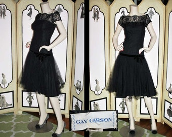 Vintage 1960's Black Lace Illusion Dress with Tulle Skirt. BEAUTIFUL. Small to Medium.