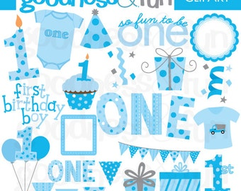 Buy 2, Get 1 FREE - First Birthday Boy Clipart - Digital First Birthday Boy Clipart - Instant Download
