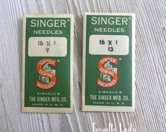 16x1 Singer Sewing Machine Round Shank Needles Size 9 Size 13 Vintage Old Stock Needles Total of 6 needles Simanco Envelopes