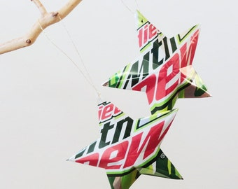 DIET Mountain Dew Stars Christmas Ornaments Soda Can Upcycled Mtn Dew Camo
