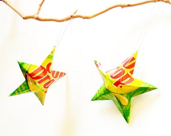 Sun Drop  Stars Christmas Ornaments Soda Can Upcycled Sundrop