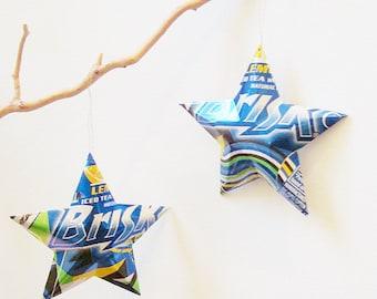 Brisk Lemon Iced Tea  Stars Christmas Ornaments Soda Can Upcycled