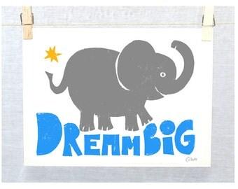 ELEPHANT Nursery Art Print,  DREAM BIG, Jungle Theme, Wall Hanging, Typography, Nursery Art Print, Modern Nursery, Ganesh