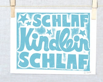 German Lullaby Print in German Schlaf Kindlein Schlaf, Nursery Decor
