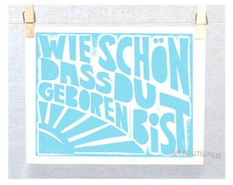 Birthday Print Geburtstag Wie schoen dass Du geboren bist Happy Birthday German Posters and Prints