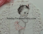 12 PINK Vintage Baby Girl / Favor TAGS or STICKERS / Baby Shower / Shabby Chic Party Favor Bag Thank You Tag Label / Large  (ref-ts)
