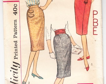 Vintage 1959 Simplicity 3114 Sewing Pattern Misses' Set of Skirts Size 24