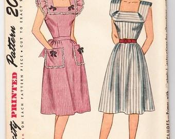 Vintage 1945 Simplicity 1663 UNCUT Sewing Pattern Misses' One-Piece Dress Size 14 Bust 32