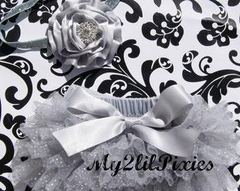Baby Girl Headband and Ruffle BUM BLOOMER set - Silver  Set-  Glitter Headband,Holiday Photos,Christmas Picture,Christmas Mini set