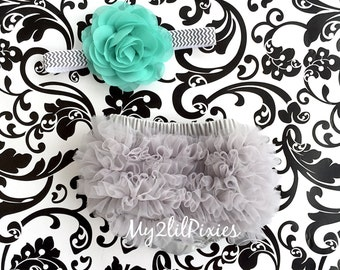 Baby Girl Ruffle Bum Bloomer & Headband Set - Newborn Photo Set - Infant Bloomers - Diaper Cover - Baby Gift - Ready to ship