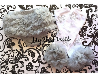 SPARKLE Snowflake leg warmers,Baby Girl Leg warmers,Snowflake Leggings,sparkle Baby Girl Ruffle Bum Baby Bloomer Diaper Cover Set-