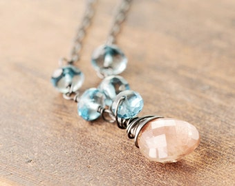 Sunstone London Topaz Necklace, Statement Jewelry, Peach Gemstone Sterling Silver Necklace