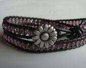 Purple Beaded Leather Wrap Bracelet with Daisy Button