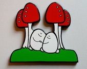 Wooden Chep & Mushrooms - A Handcut, Painted Wooden Ornament
