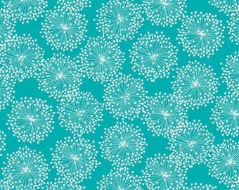 Deep Turquoise Dandelion  Cotton Fabric Contempo Fabrics Michele D'Amore 3999-84