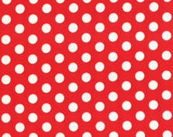 Lecien Cotton Fabric Color Basic Geo White Dots on Red with Bow Border 40445-30