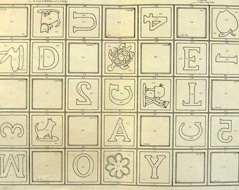Vintage Rug Pattern // Punch Hook Burlap // Original Rumpelstiltskin's 538 Child Crawl Rug // Alphabet Animals