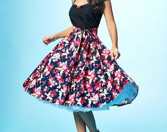 Pink & Blue Flowers and Butterflies 50s Rockabilly Dress in Vintage Look