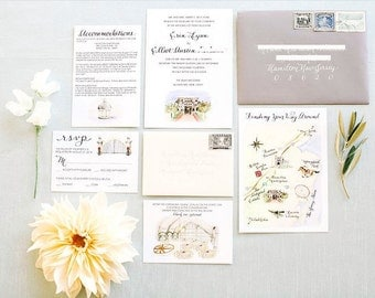 Custom Watercolor Venue Wedding Invitation