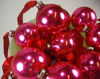 Medium Pink Glass Christmas Ball Ornaments, Set of (14) Chippy, Shabby, Craft Projects, Home Decor Display, Crafting Supplies