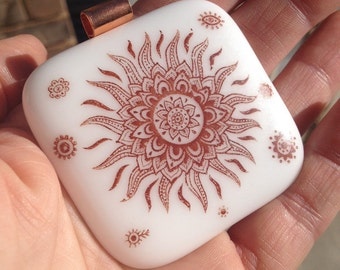 Large White Fused Glass Pendant with Flower Decal