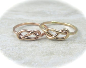 Solid Gold Knot Ring  / Gold Infinity Ring / Mother Daughter / Bridesmaids Gift / Tie the Knot Ring / Wedding Sale