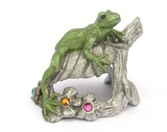 Vintage Frog, Master Works Fine Pewter, 1994 Frog, Pewter Frog, Rhinestone Flowers, Vintage Collectible Figurine, MWFP, Pewter Figurine