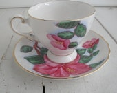 Vintage Tuscan China Red Hibiscus Tea Cup Saucer
