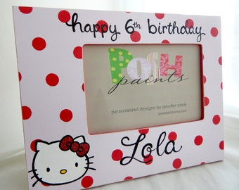 NEW polka dots and a kitty, hand painted picture frame, displays 4x6 photo, personalize it