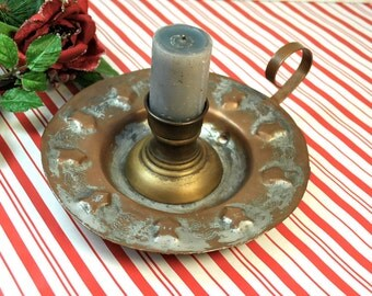 Antique copper candle holder 1920s Egyptian bed chamber candle holder finger loop Egypt copper star design stars