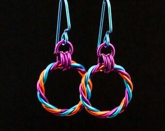 Twist Earrings in Orange, Peacock and Dark Amethyst with Niobium Ear Wires
