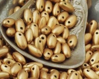 Aztec Gold Rizo Czech Beads - 5mm x 2.5mm -  6.25 Grams  - 100% Guarantee