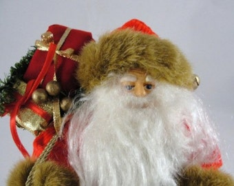 "Vintage Traditional Santa, Santa in red coat, 11"" tall standing Santa, old world santa NOS"