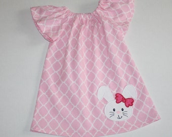 Easter dress, girls peasant dress, pink quatrefoil, bunny dress, girls easter dress, appliqued dress, easter outfit, sisters, sibling outfit