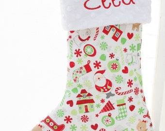 Personalized Christmas Stocking - White Christmas Mix