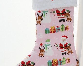 Personalized Christmas Stocking - Pink Christmas Santa and Snowman