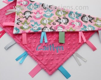 Pink Monkey Minky with Hot Pink Minky Tag Blanket  Ribbon Lovey - Personalized