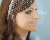 SALE Ivory Birdcage Veil dotted with Swarovski crystals and hand sewn to a crystal rhinestone headband.