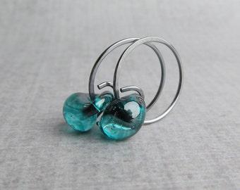 Teal Green Hoop Earrings, Small Earrings, Oxidized Earrings, Teal Earrings, Sterling Silver, Small Silver Hoop Earrings, Glass Wire Earrings