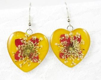 Heart of Gold, Pressed Flower Earrings, Real Flower Jewelry, Dangles, Resin (1536)