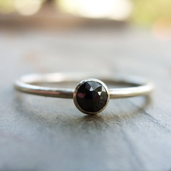 3mm Tiny Rose Cut Black Diamond Promise Ring or Stacking Ring in Sterling Sil